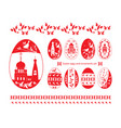 easter eggs and ornaments set vector image