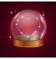 Empty Crystal Ball Valentine Heart vector image vector image