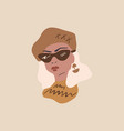 fashion beauty blogger girl frenchwoman parisian vector image