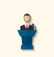 Flat icon of orator speaking from rostrum long vector image