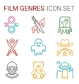 Flat line icons set of professional film vector image