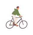 funny man riding street bicycle flat vector image