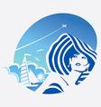 Girl and sea vector image