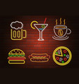 glowing neon signboard fast food and drink vector image