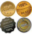 gold silver and bronze medals for quality vector image vector image