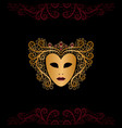 golden mask with curly hair vector image vector image