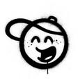 graffiti sprayed icon with baseball hat in black