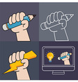 HandUp and Pencil vector image vector image
