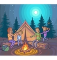 Happy family camping with campfire at night vector image vector image