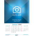 january 2018 wall monthly calendar for 2018 year vector image vector image