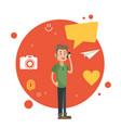 man talking smartphone social media orange circle vector image