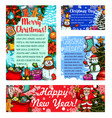 merry christmas sketch greeting cards vector image vector image