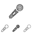 Microphone icon set - sketch line art vector image vector image