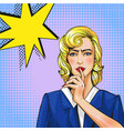 pop art woman with finger vector image vector image