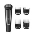 realistic detailed 3d beard and hair clipper set vector image vector image