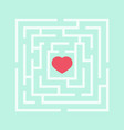 red heart in the maze vector image