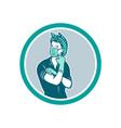 rosie riveter wearing mask mascot vector image vector image
