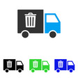 Rubbish transport van flat icon