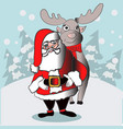 santa claus and reindeer go in the forest vector image vector image