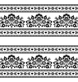 Seamless Polish black folk pattern with flowers vector image vector image