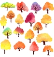 set different autumn trees watercolor vector image vector image