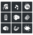 set muay thai icons fighter music vector image