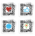 Set of QR codes with social media icons vector image vector image