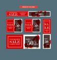 set of red and white framed sale web banners vector image vector image