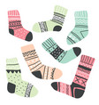 set of scandinavian style socks isolated on white vector image vector image