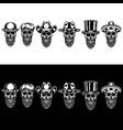 set skull beard in hat vector image