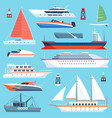 ships boats flat maritime transport ocean cruise vector image