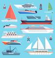 ships boats flat maritime transport ocean cruise vector image vector image