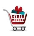 shopping cart gift cyber monday vector image vector image