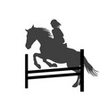 silhouette of a rider girl on horse jumping over vector image vector image