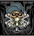 skull wearing hat and gas mask vector image