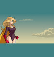 superheroine side profile sky background vector image vector image