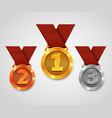 three award medals with ribbons gold medal vector image