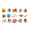 toys isometric colored kindergarten objects vector image vector image