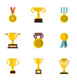 trophy medals and award icons set flat style vector image vector image