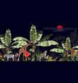 tropical vintage botanical landscape palm tree vector image