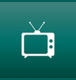 tv icon in flat style on green background vector image vector image
