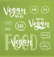 vegan menu lettering vector image
