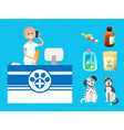 veterinary clinic reception woman with cell phone vector image vector image