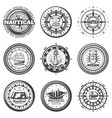 vintage monochrome round nautical labels set vector image vector image