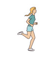 woman cartoon character in activewear runs sketch vector image vector image