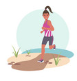 young happy woman jogging in the park flat vector image