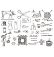 set of sewing tools and materials or tools for vector image