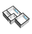 3d house floor plan with stone texture