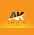 ak a k letter modern logo design with yellow vector image vector image