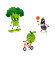apple broccoli eggplant sport character set vector image vector image